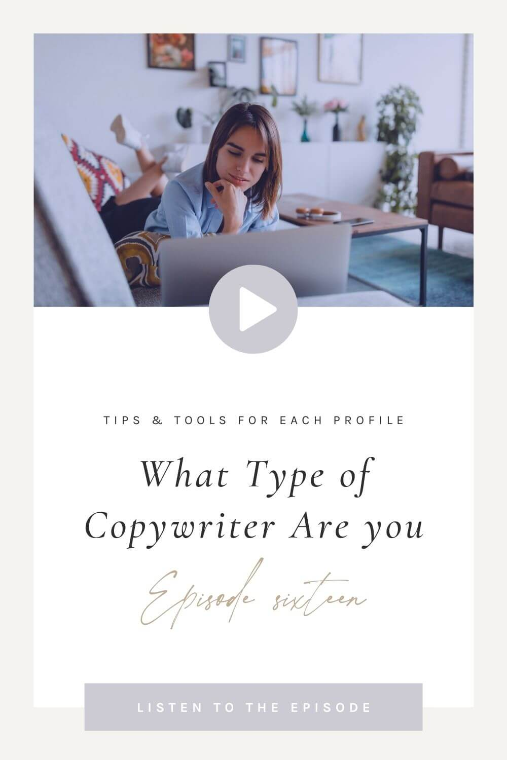 Pinterest Pin with Episode Title and dark-haired woman lying on the couch reading on her laptop